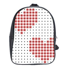 Heart Love Valentine Day Pink School Bags(Large)