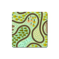 Hilly Roads Square Magnet