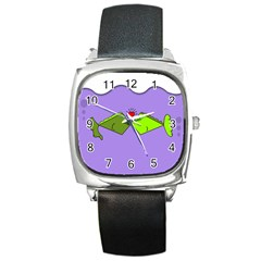 Kissing Fish Square Metal Watch