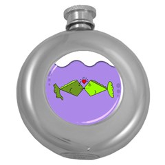 Kissing Fish Round Hip Flask (5 oz)