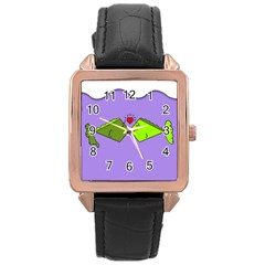 Kissing Fish Rose Gold Leather Watch
