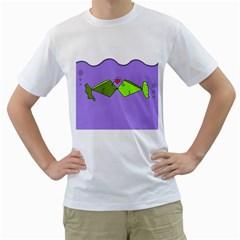 Kissing Fish Men s T-Shirt (White)