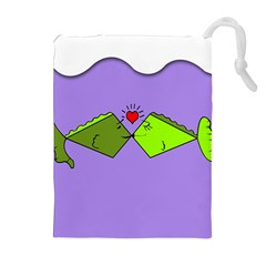 Kissing Fish Drawstring Pouches (Extra Large)