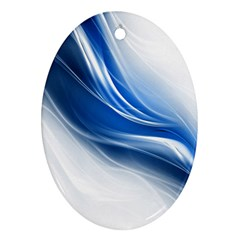 Light Waves Blue Ornament (Oval)