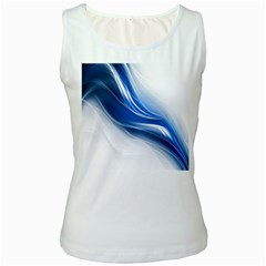 Light Waves Blue Women s White Tank Top