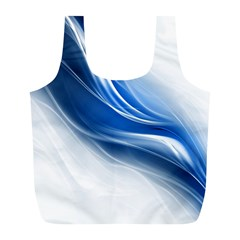 Light Waves Blue Full Print Recycle Bags (L)