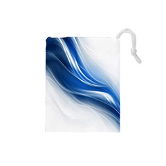 Light Waves Blue Drawstring Pouches (Small)