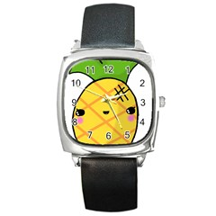 Kawaii Pineapple Square Metal Watch