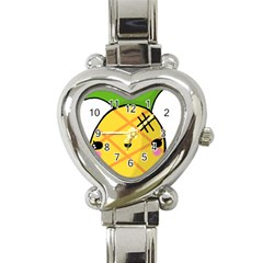 Kawaii Pineapple Heart Italian Charm Watch