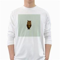 Owl White Long Sleeve T-Shirts
