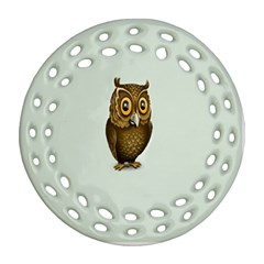 Owl Round Filigree Ornament (2Side)