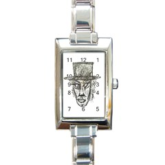 Man With Hat Head Pencil Drawing Illustration Rectangle Italian Charm Watch
