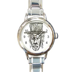 Man With Hat Head Pencil Drawing Illustration Round Italian Charm Watch