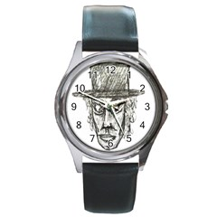 Man With Hat Head Pencil Drawing Illustration Round Metal Watch