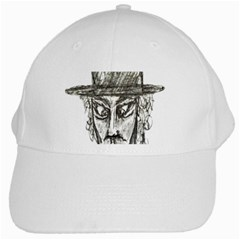 Man With Hat Head Pencil Drawing Illustration White Cap