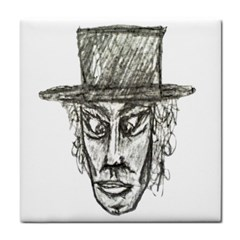 Man With Hat Head Pencil Drawing Illustration Tile Coasters