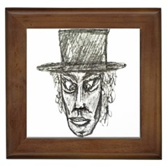 Man With Hat Head Pencil Drawing Illustration Framed Tiles