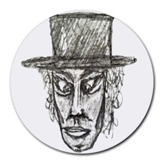 Man With Hat Head Pencil Drawing Illustration Round Mousepads