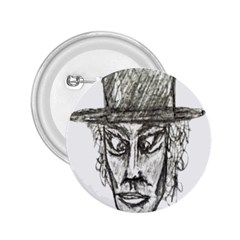 Man With Hat Head Pencil Drawing Illustration 2.25  Buttons