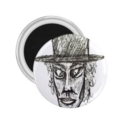 Man With Hat Head Pencil Drawing Illustration 2.25  Magnets
