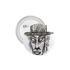 Man With Hat Head Pencil Drawing Illustration 1.75  Buttons