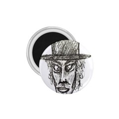 Man With Hat Head Pencil Drawing Illustration 1.75  Magnets