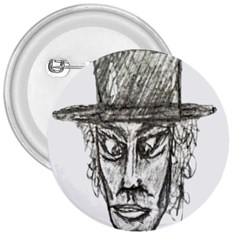 Man With Hat Head Pencil Drawing Illustration 3  Buttons