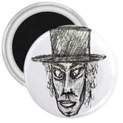 Man With Hat Head Pencil Drawing Illustration 3  Magnets