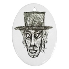 Man With Hat Head Pencil Drawing Illustration Ornament (Oval)
