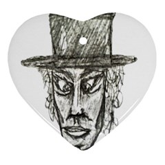 Man With Hat Head Pencil Drawing Illustration Ornament (Heart)