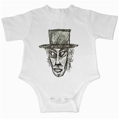 Man With Hat Head Pencil Drawing Illustration Infant Creepers