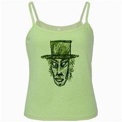 Man With Hat Head Pencil Drawing Illustration Green Spaghetti Tank
