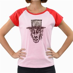 Man With Hat Head Pencil Drawing Illustration Women s Cap Sleeve T-Shirt