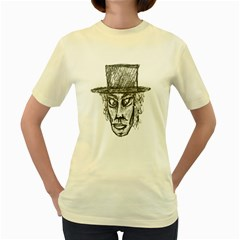 Man With Hat Head Pencil Drawing Illustration Women s Yellow T-Shirt