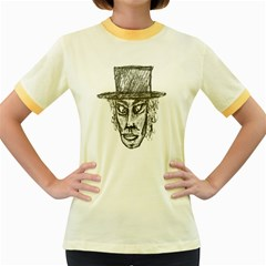Man With Hat Head Pencil Drawing Illustration Women s Fitted Ringer T-Shirts
