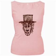 Man With Hat Head Pencil Drawing Illustration Women s Pink Tank Top