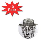 Man With Hat Head Pencil Drawing Illustration 1  Mini Magnet (10 pack)