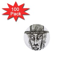 Man With Hat Head Pencil Drawing Illustration 1  Mini Buttons (100 pack)