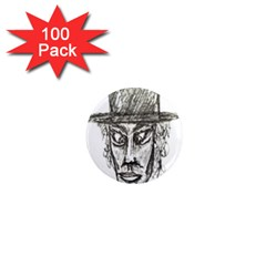 Man With Hat Head Pencil Drawing Illustration 1  Mini Magnets (100 pack)