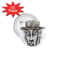 Man With Hat Head Pencil Drawing Illustration 1.75  Buttons (10 pack)