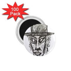 Man With Hat Head Pencil Drawing Illustration 1.75  Magnets (100 pack)