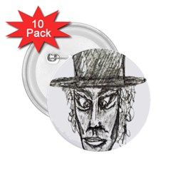 Man With Hat Head Pencil Drawing Illustration 2.25  Buttons (10 pack)