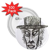 Man With Hat Head Pencil Drawing Illustration 2.25  Buttons (100 pack)