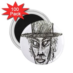 Man With Hat Head Pencil Drawing Illustration 2.25  Magnets (100 pack)