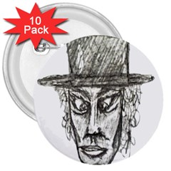 Man With Hat Head Pencil Drawing Illustration 3  Buttons (10 pack)