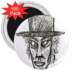 Man With Hat Head Pencil Drawing Illustration 3  Magnets (100 pack)