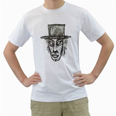 Man With Hat Head Pencil Drawing Illustration Men s T-Shirt (White) (Two Sided)