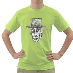 Man With Hat Head Pencil Drawing Illustration Green T-Shirt