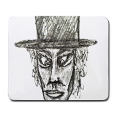 Man With Hat Head Pencil Drawing Illustration Large Mousepads