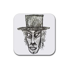 Man With Hat Head Pencil Drawing Illustration Rubber Coaster (Square)